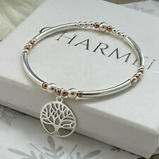 sterling silver stretch stacking bracelet rose gold filled tree of life charm
