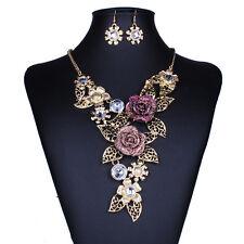 Golden 3D Rose Flower Cluster Leaf Statement Choker Necklace Earring Jewelry Set