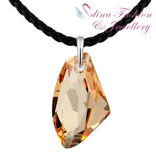Leather Chain Made With Swarovski Crystal Galactic Flat Fancy Cut Long Necklace