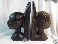 Vintage African Man Woman Book Ends Signed Ricot Simeon