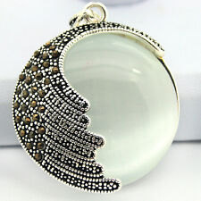 Retro White Opal Cat's Eye Stone Bead Marcasite 925 Sterling Silver Pendant