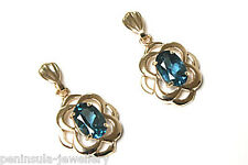 9ct Gold London Blue Topaz Celtic Drop earrings Made in UK Gift Boxed