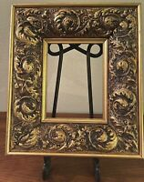 Vintage French Gold Gilded & Gesso Deep Core Wood Picture Frame Scrolling Leaves