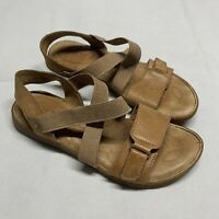Born Atiana Sandals Women's Size 7 M Light Brown Leather Elastic EUC F00406