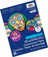 "SunWorks Construction Paper, 10 Assorted Colors,  9"" x 12"", 50 Sheets"
