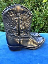 SALE @ FADED GLORY Flex Trail BLACK Faux Leather COWBOY BOOTS Boys Girls Sz 8 T