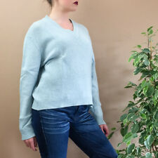 Vintage 90's Grunge Pale Blue Knitted Wool V Neck Sweater Jumper Medium UK 12 14