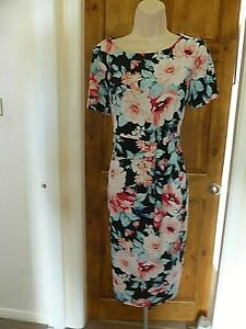 Pretty black and pink floral gathered detail dress from David Emanuel size 12