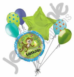 7 pc Hanging Monkey Happy Birthday Balloon Bouquet Party Decoration Animal Green