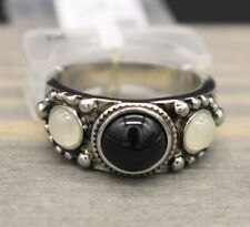 Cbc Western Band Ring M City by City Silver-Tone Faux Black Onyx Moonstone