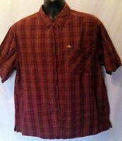 Bum Equipment Mens Shirt Sz XL Red Yellow Plaid Short Sleeve Button Up