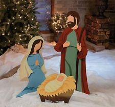 Outdoor Christmas Nativity Scene Large Jesus Mary Joseph Metal Decoration 3-PC