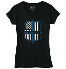 Blue Lives Matter Police Badge Flag Hero Gift Womens Juniors Petite V-Neck Tee