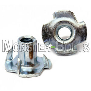 """3/8""""-16  Tee Nuts 4 Prong, CR+3 Zinc Plated Steel T-Nut  7/16"""" Overall Length"""