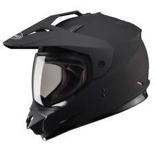 Gmax GM11D Solid Dual Sport Helmet Adult Flat Matte Black Double Lens LARGE L
