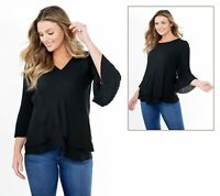 Laurie Felt Woven Reversible Pleated Sleeve Blouse (Black, M) A379346
