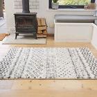 Tribal Cream Ivory Shaggy Rugs Deep 3cm Shag Mat Soft Non Shed Living Room Rugs
