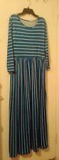 Light Blue & White Striped Maxi Dress-Long Sleeves-Size XL-Beautiful!!