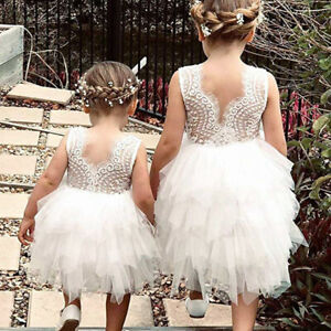 Toddler Baby Girls Sleeveless Dress Size 1-5 Birthday Party Lace Tutu Gown