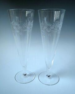 Vintage Crystal Trumpet Flute Champagne Wedding Toasting Glasses Set 2 Etched