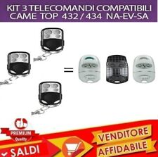 KIT 3 TELECOMANDO CANCELLO GARAGE SERRANDA COMPATIBILE CAME TOP 432 434 NA SA EV