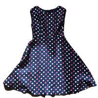 Hobbs Blue Silk Wool Polka Dot Sleeveless Dress Size EU40 UK12