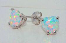 Opal Heart Stud Earrings 14Kt White Gold