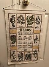 Vintage 1988 Linen Fabric Tea Towel Wall Calendar ~ Herbs Stencil Design Hanging