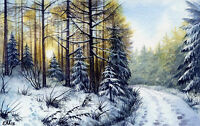"""Watercolor Original 5,5"""" x 3,5"""" Painting a Day Winter by Elena Mezhibovsky"""