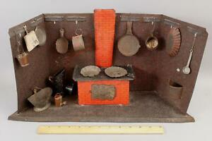 Antique 19thC German Folk Art Miniature Tin Kitchen Dollhouse Room & Accessories