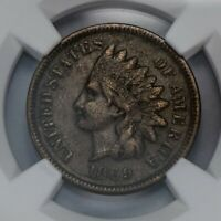 1869 1c INDIAN HEAD SMALL CENT, SEMI-KEY DATE COIN *NGC XF 40 BROWN* LOT#S811