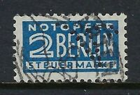 "Germany Fancy ""V"" Perfin on 2pf. Berlin Tax Steuermarke stamp (DR Lochungen)"