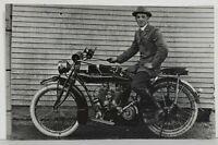 Indian Motorcycle RPPC Man Posing Real Photo Vintage Postcard M16