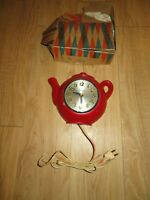 1950's Sessions Tea Pot Electric Clock Cast Model 1-TK-51 Works perfect! w/ box