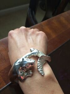 Vintage Sterling Silver 925 Panther and Fish Cuff Bracelet