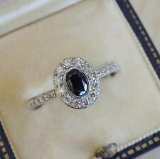 Sapphire and Diamond Halo Ring 18ct White Gold