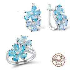 Pure 925 Sterling Silver Fashion J Blue Stone White Cubic Zirconia Ring Earrings