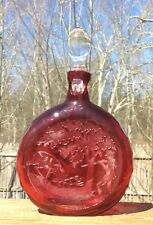 St Louis French Art Glass Acid Cut Back Cranberry to Clear