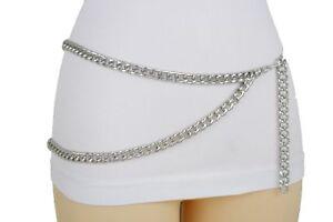 Women Belt Black Silver Gold Metal Chain Links Hip Waist Fashion XS S M L XL XXL