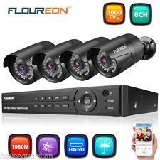 FLOUREON Überwachungssystem 8CH 1080P CCTV DVR Videoüberwachung 4 3000TVL Kamera