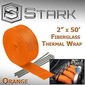 """2"""" x 50FT Exhaust Header Fiberglass Heat Wrap Tape w/ 5 Steel Ties - Orange (X)"""