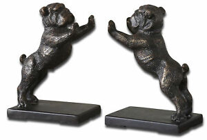Luxe Metal Pug Bull Dog Bookend Set | Cast Iron Standing Bronze Vintage Style