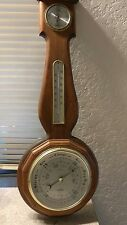 vintage hydrometers cum thermometer wood mounted unit.