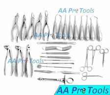 AA Pro: 34 Pcs Oral Dental Extraction Surgery Extracting Elevators Forceps Instr