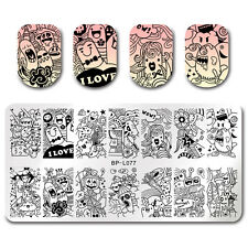 Nail Stamping Plate Funny Expression Rectangle Nail Art Template DIY Born Pretty