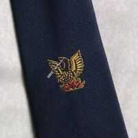 PHOENIX CREST MOTIF TIE VINTAGE RETRO CLUB ASSOCIATION NAVY 1980s 1990s