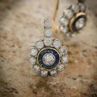 Art Deco Style Sapphire & Halo Earrings 2Ct Diamond Earrings 14K White Gold Over