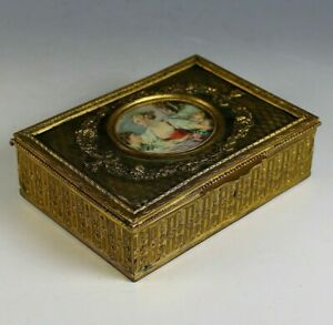 Antique Napoleon III Repousse Dresser Box with Center Medallion