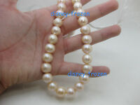 "huge 12-13mm pink  pearl necklace 18"" AAA l south sea  baroque pearl necklace14k"