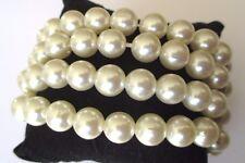bracelet bijou fantaisie élastique 4 rangs de perles en résine nacrée blanc 637